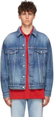Balenciaga Blue Organic Denim Logo Jacket