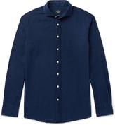 Hackett Kent Slim-fit Cutaway-collar Washed-cotton Shirt - Indigo