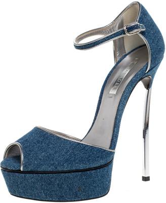 Casadei Blue Denim Peep Toe Ankle Strap Platform Blade Heel Sandals Size 37