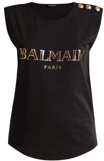 Balmain Logo Print Cotton Tank Top - Womens - Black