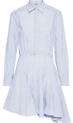 Jason Wu Asymmetric Striped Cotton-poplin Mini Shirt Dress