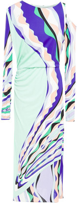 Emilio Pucci Cold-shoulder Ruched Printed Stretch-jersey Midi Dress