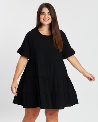 Atmos & Here Atmos&Here Curvy - Women's Black Mini Dresses - Lily Smock Dress - Size 18 at The Iconic