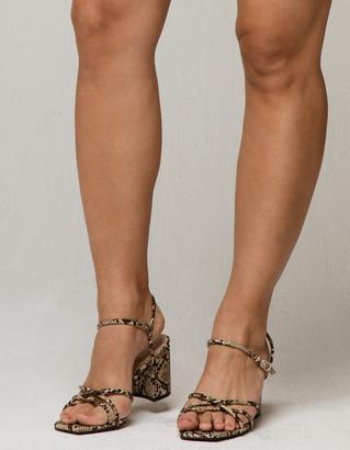 Bamboo Strappy Snake Block Heels
