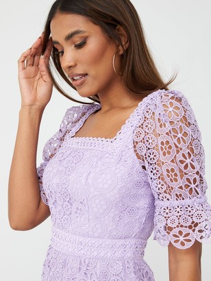 Very Square Neck A-Line Lace Dress - Lilac