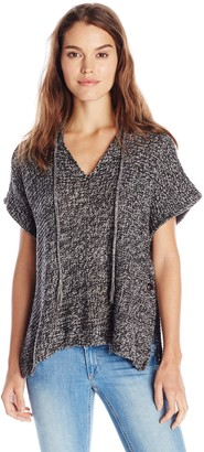 RD Style Women's Hooded V Neck Poncho Sweater