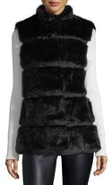 Kate Spade Faux Fur Stand-Collar Vest With Grosgrain Inserts