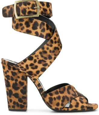 Saint Laurent Oak leopard print sandals