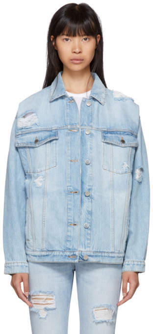 Stella McCartney Blue Shoulder Rip Denim Jacket