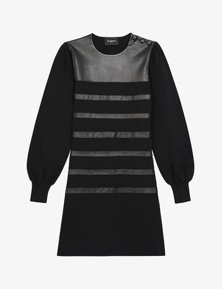 The Kooples Leather-embellished woven mini dress