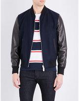 Bally Leather-sleeved Wool Bomber Jacket