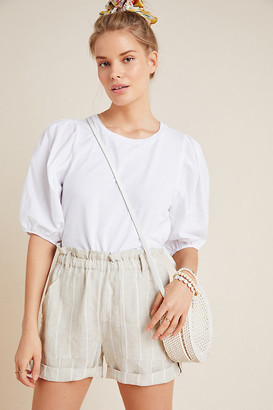 Eri + Ali Lorette Puff-Sleeved Top By in White Size XS