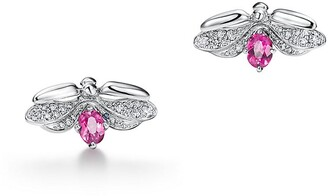 Tiffany & Co. Paper Flowers diamond and rubellite firefly earrings in platinum, mini