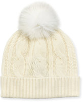 Neiman Marcus Fox Fur Pompom Cable-Knit Hat, Ivory