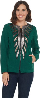 Bob Mackie Faux Leather Trim Zip Front Jacket