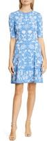 Lela Rose Floral Jacquard Flare Hem Sweater Dress