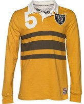 Superdry Mens World Legends Rugby Top Washed Gold Mix