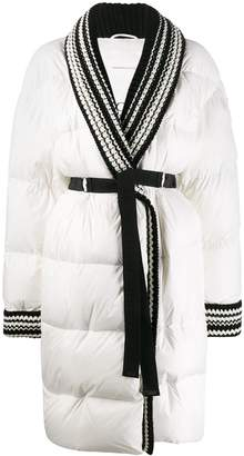 Ermanno Scervino embroidered puffer belted coat