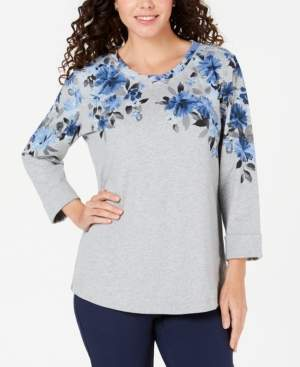 Karen Scott Petite Printed 3/4-Sleeve Sweatshirt, Created for Macy's