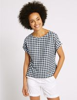 Marks and Spencer Cotton Blend Gingham Short Sleeve Shell Top