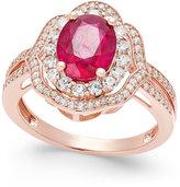 Macy's Ruby (2-1/10 ct. t.w.) and Diamond (1/2 ct. t.w.) Ring in 14k Rose Gold