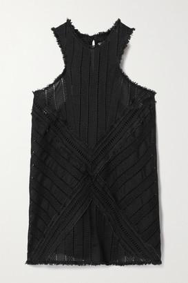 RUE MARISCAL Net Sustain Frayed Crocheted Cotton Tank - Black