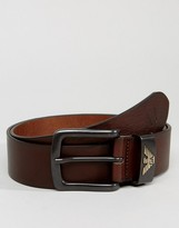 Armani Jeans Leather Logo Belt In Brown