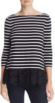 Kate Spade Lace Hem Stripe Top