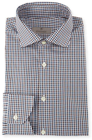 Canali Gingham Check Cotton Shirt