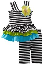 Bonnie Baby Girls Newborn Striped Knit Tiered Legging Set