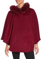 Sofia Cashmere Fox Fur Trimmed Cape