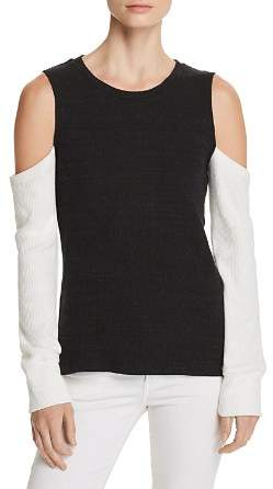 LnA Aya Cold-Shoulder Color-Block Sweater