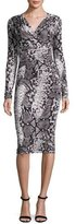 David Meister Long-Sleeve Snake-Print Jersey Dress, Black/Ivory