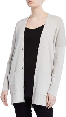 Eileen Fisher Organic Cotton/Silk V-Neck Button-Front Boyfriend Cardigan