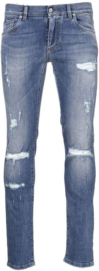 Dolce & Gabbana Distressed Fitted Jeans