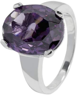 Monti Carlo Women's Ring 925 Sterling Silver Rhodium-Plated Cubic Zirconia Purple Oval JCM 104-111 in Prong Setting 19mm Purple
