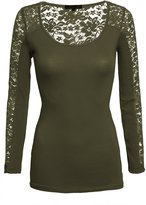 Hot From Hollywood Women's Casual Scoop Neck Lace Inset Long Sleeve Comfort Slim Fit Fashion Top