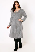 Yours Clothing Grey Space Knit Long Sleeve Dress With Lattice V-Neck