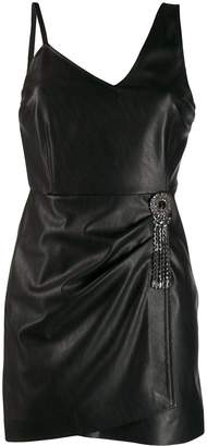 Pinko crystal brooch mini dress