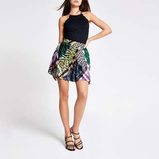 River Island Womens Purple print pleated mini skirt