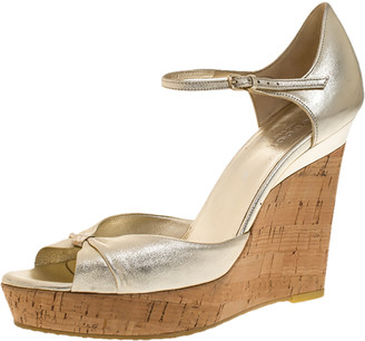 Gucci Gold Leather Cork Platform Wedge Ankle Strap Sandals Size 39.5