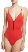 Onia Arianna Zip-Front One-Piece Swimsuit, Red