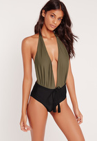 Missguided Khaki & Black Halter Neck Plunge Swimsuit
