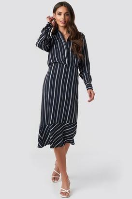 NA-KD Asymmetric Striped Skirt Blue