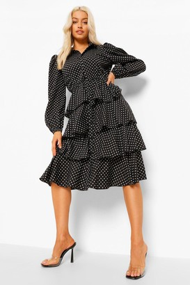 boohoo Polka Dot Tired Midi Shirt Dress