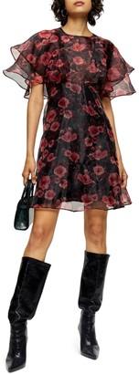 Topshop Organza Floral Print Mini Dress