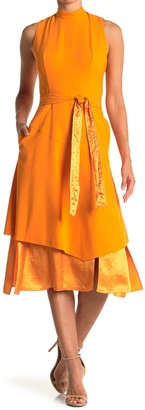 HUGO BOSS Kethea Mixed Layer Sleeveless Midi Dress