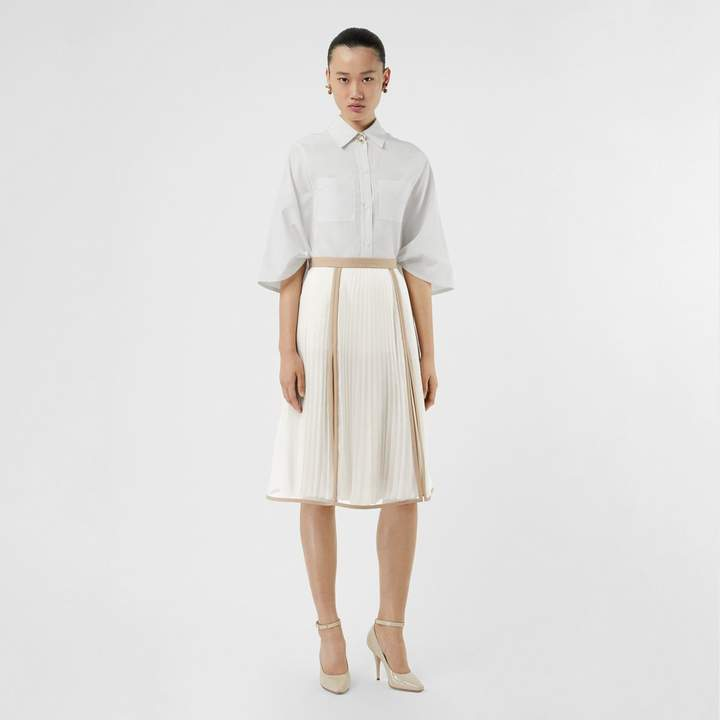 Burberry Chiffon Panel Silk Pleated Skirt