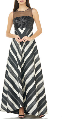Carmen Marc Valvo Sleeveless Mesh Illusion & Sequin Bodice Gown w/ Chevron Striped Skirt