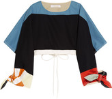 Chloé Cropped Color-block Cotton-twill Top - Navy